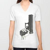 gun V-neck T-shirts featuring GUN by Takeru Amano