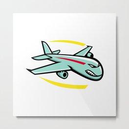 Angry Jumbo Jet Plane Mascot Metal Print