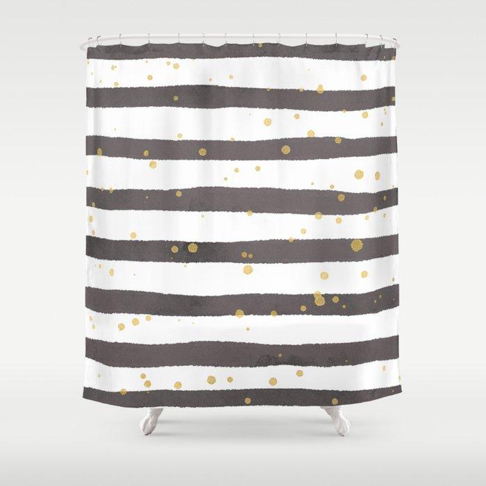 Modern Gray Yellow White Watercolor Splatters Stripes Shower Curtain
