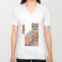 tetris V-neck T-shirts featuring TETRIS by Bianca Green