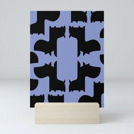 Scottie Dog Hex Pattern in Periwinkle Mini Art Print