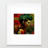 british Framed Art Prints featuring Under a British rain by Ganech joe