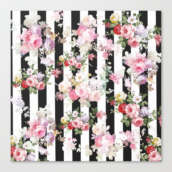 Bold pink watercolor roses floral black white stripes canvas print bold pink watercolor roses floral black white stripes canvas print by pinkwater society6 mightylinksfo