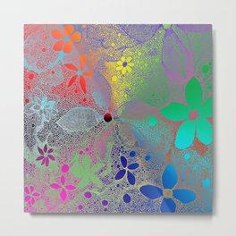 Flowers In Lace Rainbow Metal Print