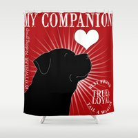 rottweiler Shower Curtains featuring ROTTWEILER – My Companion - Red by TRArtStudios