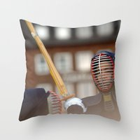 samurai Throw Pillows featuring Samurai by Premium