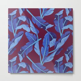 Tropical '17 - Blue Bird Of Paradise [Banana Leaves] Metal Print