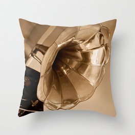 Antique Vintage Gramophone Gifts Music Lovers Throw Pillow