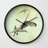 fly Wall Clocks featuring Fly by The Last Sparrow