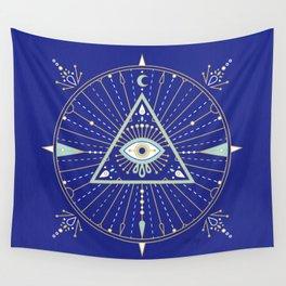 Evil Eye Mandala – Navy Wall Tapestry