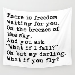 What if you fly? Vintage typewritten Wall Tapestry