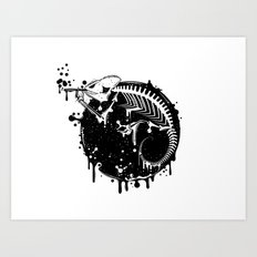 Smoking Chameleon Art Print