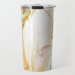Alphonse Mucha Spring Floral Vintage Art Nouveau Travel Mug