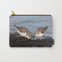 A Pair of Sanderlings Shares: A Meal is Better When Eaten Together Carry-All Pouch