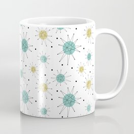Franciscan Starburst Aqua Blue Yellow Mid Century Pattern Coffee Mug