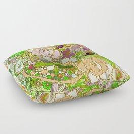 Detailed summer floral pattern, green Floor Pillow
