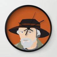 scandinavian Wall Clocks featuring Scandinavian fisherman by Design4u Studio