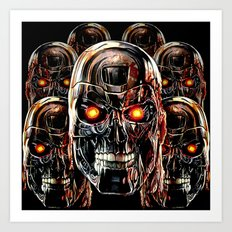 Silver Steel Skull Army painting iPhone 4 4s 5 5s 5c, pillow case, mugs and tshirt Art Print