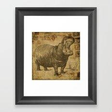 Vintage retro Hippo wildlife animal africa Framed Art Print