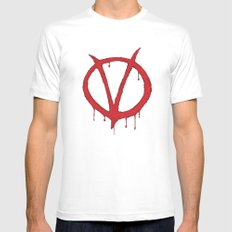 V for Vendetta2 MEDIUM White Mens Fitted Tee