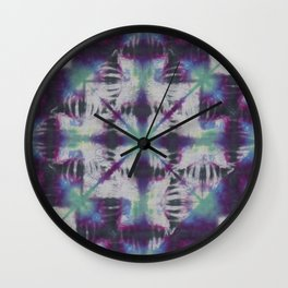 Fractal Tie Dye Purple Green Wall Clock