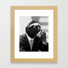 Gentleman Sloth smoking a cigarette Framed Art Print