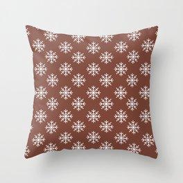 Snowflakes (White & Brown Pattern) Throw Pillow