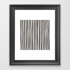 Vertical Black and White Watercolor Stripes Framed Art Print