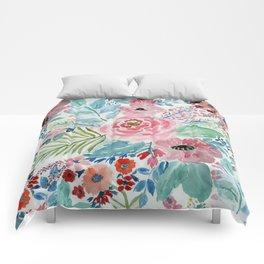 Pretty watercolor hand paint floral artwork. Comforters