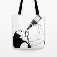 apollonia Tote Bags featuring asc 560 - La bouteille (My friend Aloxe) by From Apollonia with Love