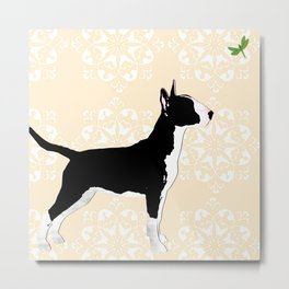 English Bull Terrier Dog in black Metal Print