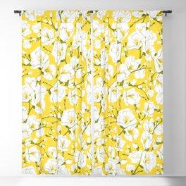 White freesia on a yellow background Blackout Curtain