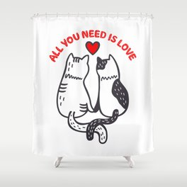Two Valentine Cats Shower Curtain