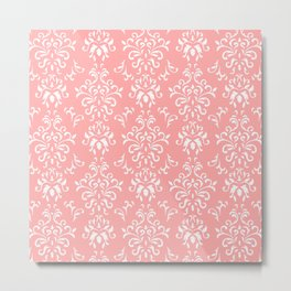 White And Coral Vintage Damask Pattern - Mix & Match with Simplicity of Life Metal Print