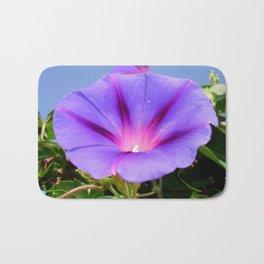 Purple Coloured Morning Glory Garden Background Bath Mat