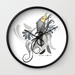 Gray Cockatiel Wall Clock