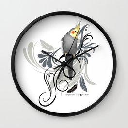 Gray Cockatiel Wall Clock