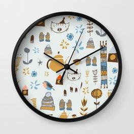 hygge cat and bird gray Wall Clock