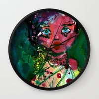 moulin rouge Wall Clocks featuring Rouge by Jane Carlisle
