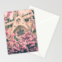 Paris, Notre dame details and cherry blossoms Stationery Cards