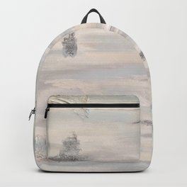 Neutral Driftwood Gray Abstract with Silver Foil Backpack
