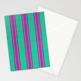 Pink lines on a turquoise background Stationery Cards