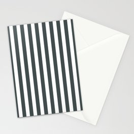 PPG Night Watch Pewter Green & White Stripes, Wide Vertical Line Pattern Stationery Cards