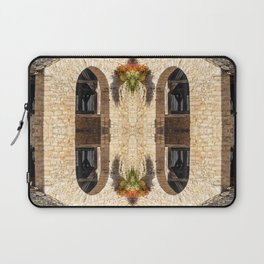Surreal kaleidoscope pattern of old stoned covered market in France Laptop Sleeve