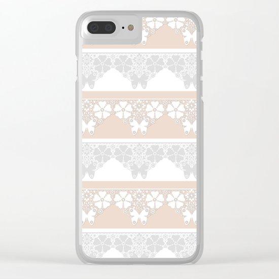 Peach-colored lace . Clear iPhone Case