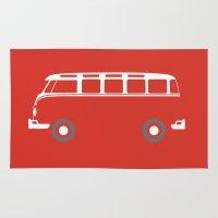vw bus Area & Throw Rugs featuring VW Samba Bus - Flat by Art By Edo