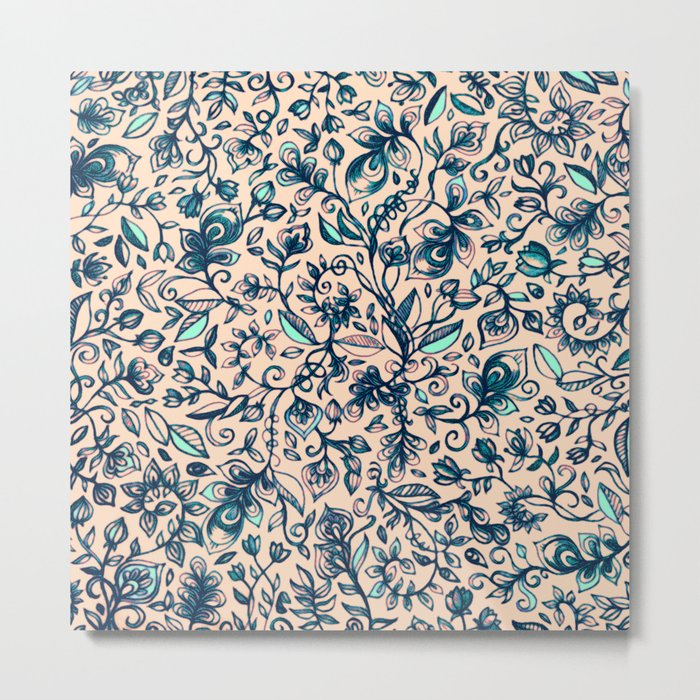 Teal Garden - floral doodle pattern in cream & navy blue Metal Print