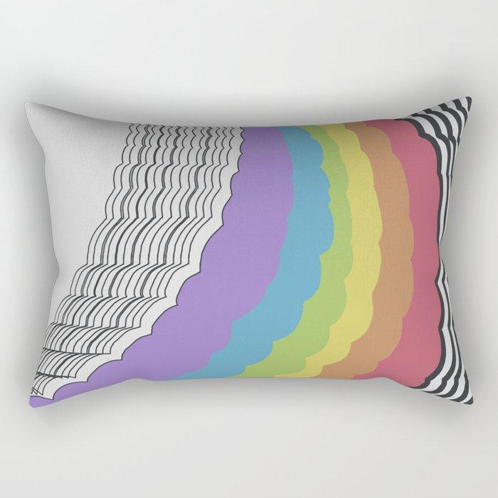 Rainbow Waves Rectangular Pillow