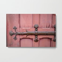 Red Door Architectural Detail in Paris Metal Print