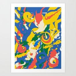Spirits of Life are dancing in the summer night pattern art by Emmanuel Signorino Art Print